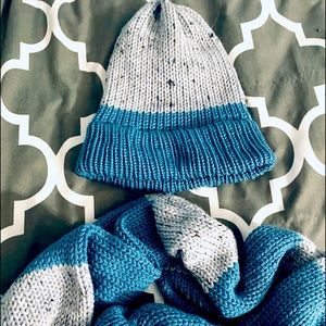 Hand knitted Beanie and Matching Infinity Scarf